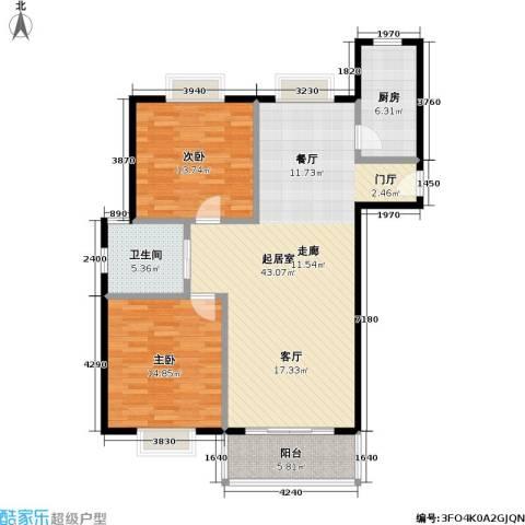 新南丽都2室0厅1卫1厨99.00㎡户型图