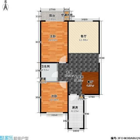 东方夏威夷2室0厅1卫1厨93.00㎡户型图