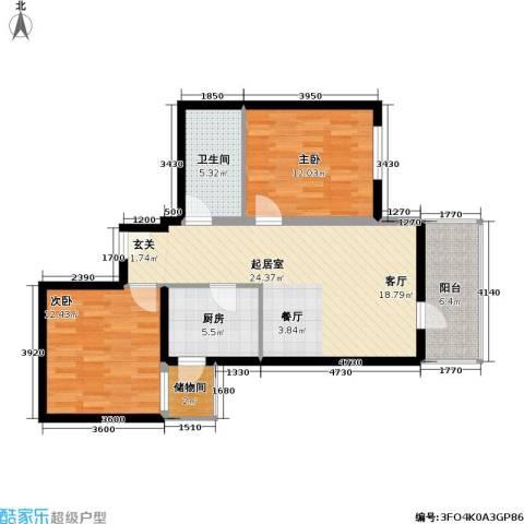 恬心家园(二期)2室0厅1卫1厨77.00㎡户型图