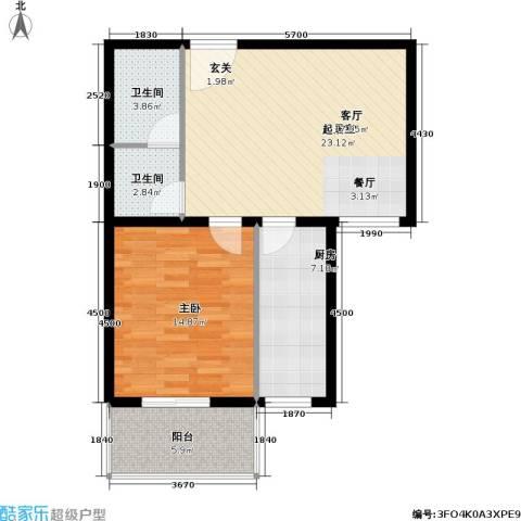 恬心家园(二期)1室0厅2卫1厨65.00㎡户型图