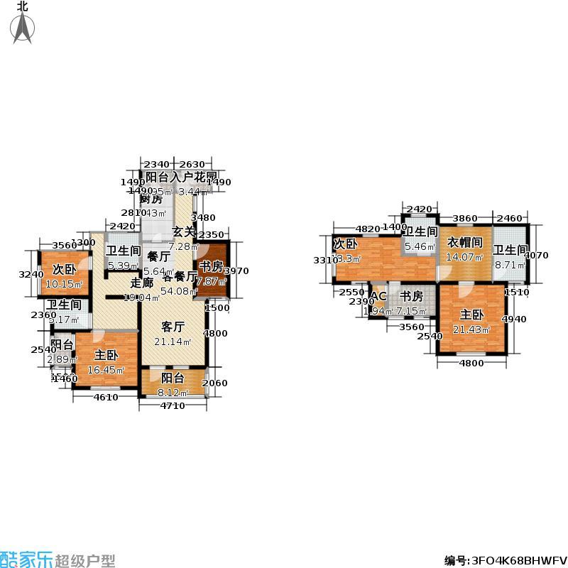 世嘉光织谷花墅F6户型6室1厅4卫1厨