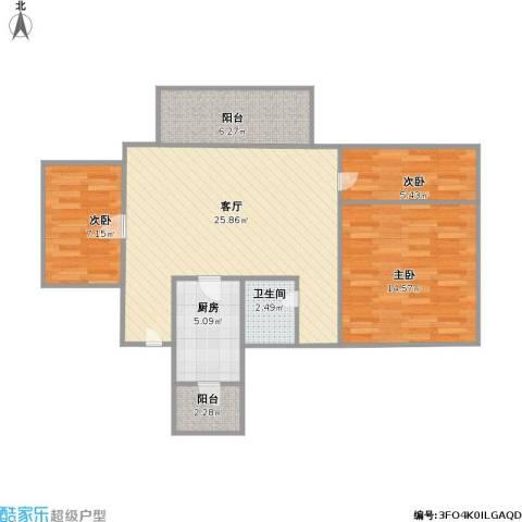 怡乐花园3室1厅1卫1厨75.04㎡户型图