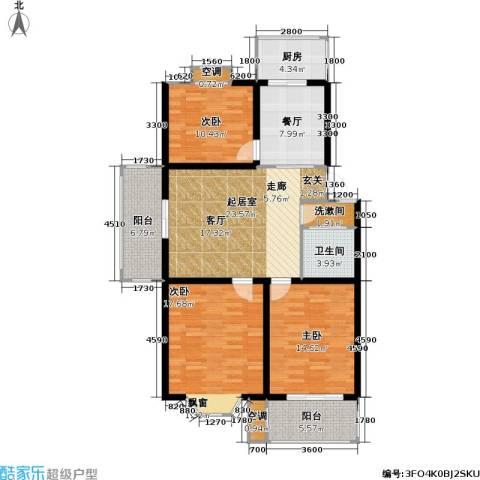 腾泰雅苑3室1厅1卫1厨98.49㎡户型图
