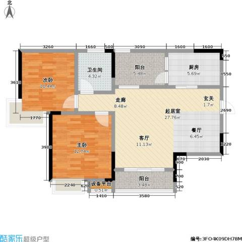 保利・康桥2室0厅1卫1厨100.00㎡户型图