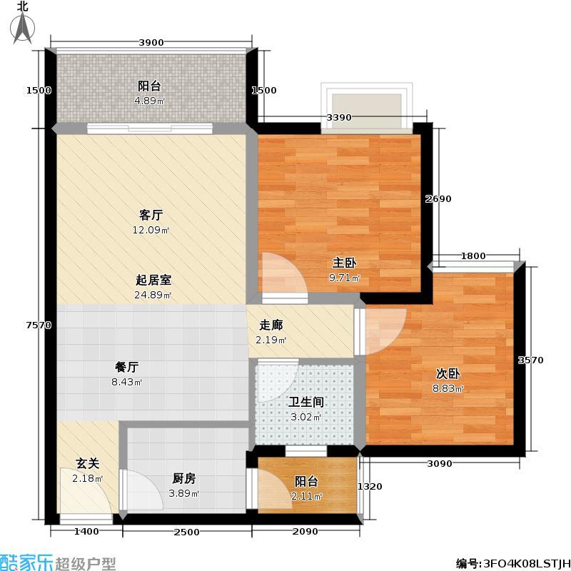 千山云景61.52㎡3单卫双阳台户型