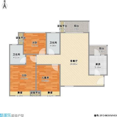 金地朗悦3室1厅2卫1厨111.00㎡户型图