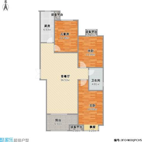 百岛绿城3室1厅1卫1厨130.00㎡户型图