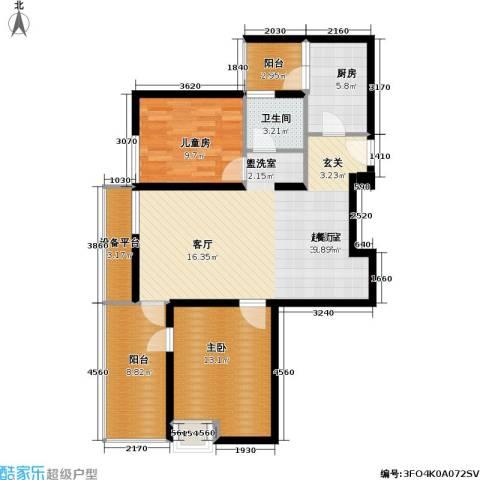 滴翠苑 明园森林都市2室0厅1卫1厨111.00㎡户型图