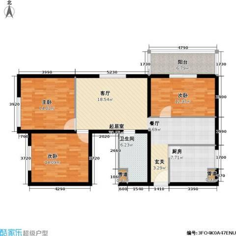 恬心家园(二期)3室0厅1卫1厨105.00㎡户型图