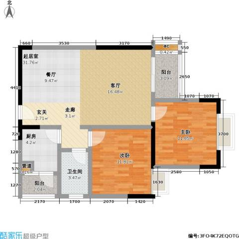2008新长江广场2室0厅1卫1厨80.00㎡户型图