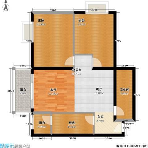 恬心家园(二期)2室0厅1卫1厨89.00㎡户型图
