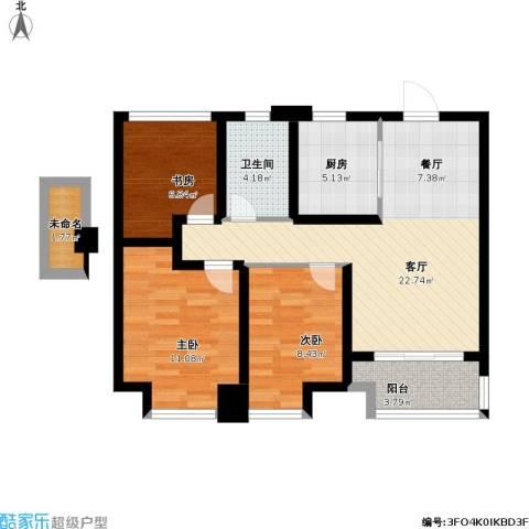 旭辉・御府3室1厅1卫1厨95.00㎡户型图