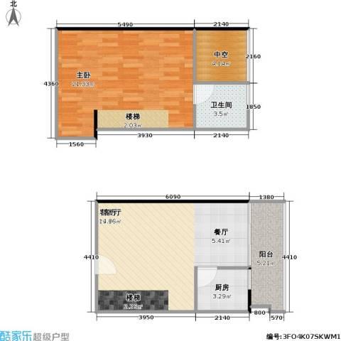 理想青年荟大厦1室1厅1卫1厨59.30㎡户型图