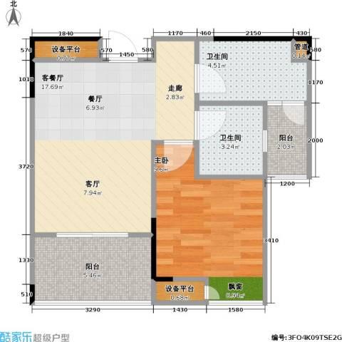 劲旅・丽景花园1室1厅2卫0厨61.00㎡户型图