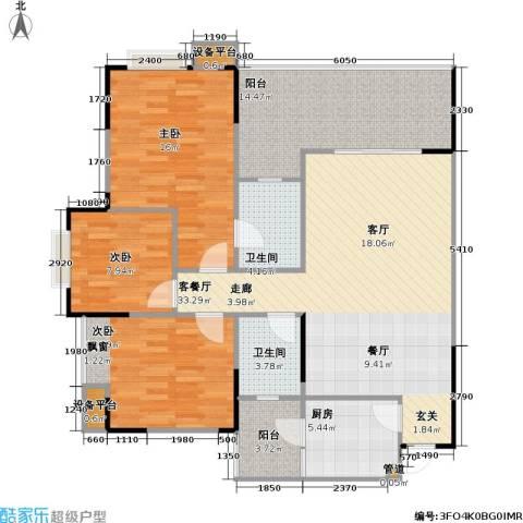 劲旅・丽景花园3室1厅2卫1厨138.00㎡户型图
