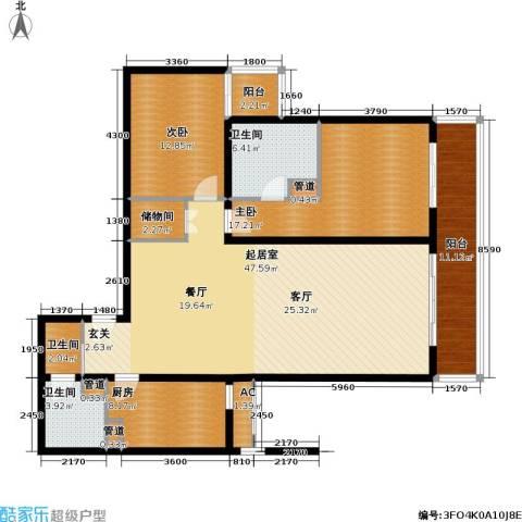 丽水湾畔(尾盘)2室0厅3卫1厨130.00㎡户型图