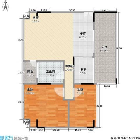杰座2室1厅1卫1厨70.00㎡户型图