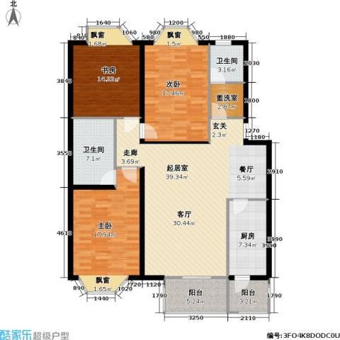 宏鑫家园3室0厅2卫1厨131.00㎡户型图