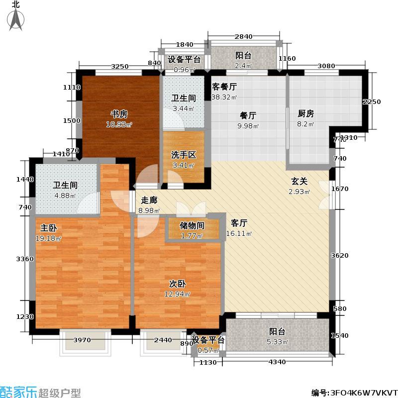 崇文园二期128.00㎡房型: 三房; 面积段: 128 -137 平方米; 户型