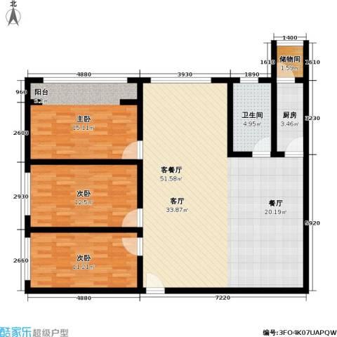玲珑花苑・翠景苑3室1厅1卫1厨113.00㎡户型图