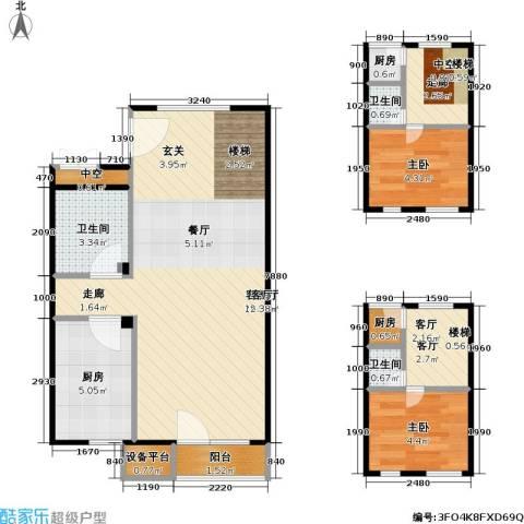 万科金阳国际公寓2室2厅3卫3厨59.74㎡户型图