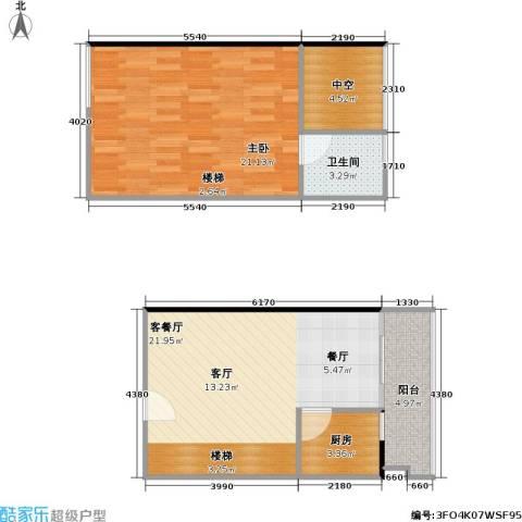 理想青年荟大厦1室1厅1卫1厨59.22㎡户型图