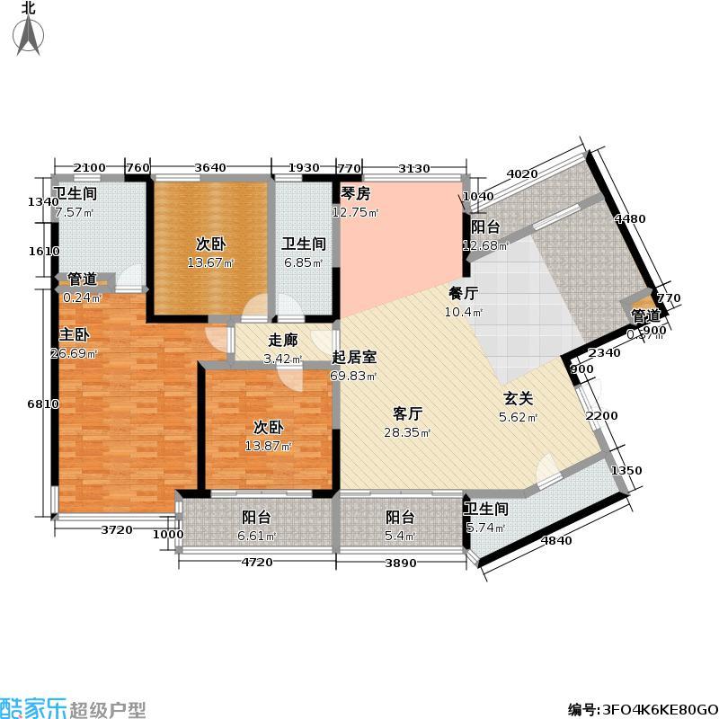 皇都花园183.35㎡CYA2(3、5、9层 ) 3室2厅3卫户型