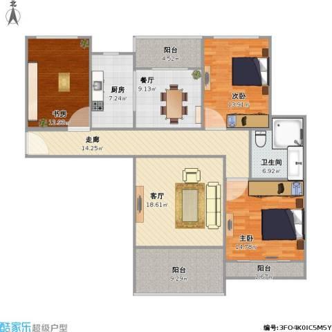 保利天鹅语3室2厅1卫1厨155.00㎡户型图