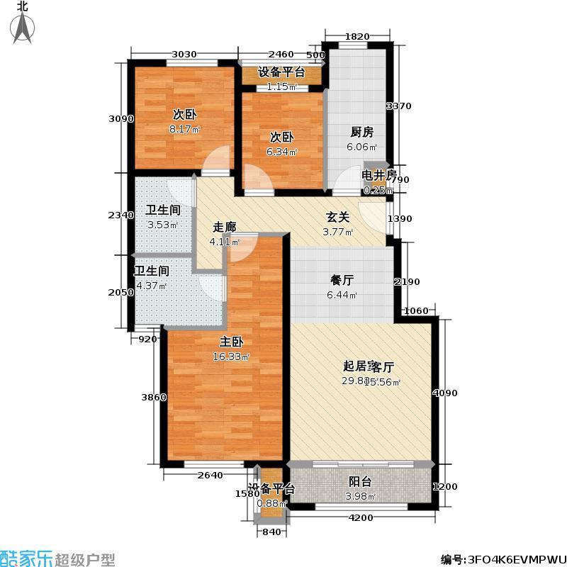 北京苏活106.26㎡北京苏活户型图1、2、3号楼D户型三室两厅两卫(2/10张)户型3室2厅2卫