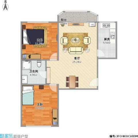 合生珠江罗马嘉园2室1厅1卫1厨85.00㎡户型图