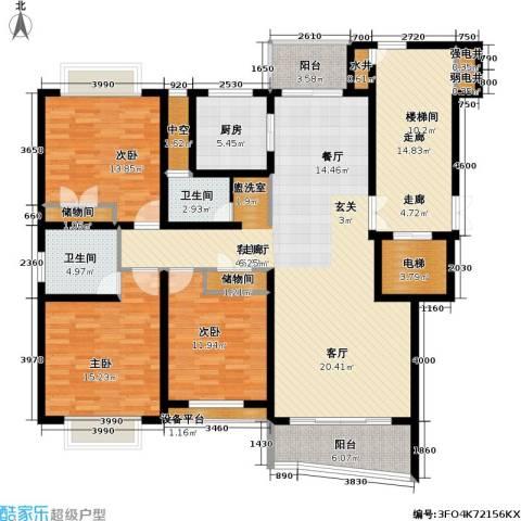 香榭水岸四期公寓3室1厅2卫1厨195.00㎡户型图
