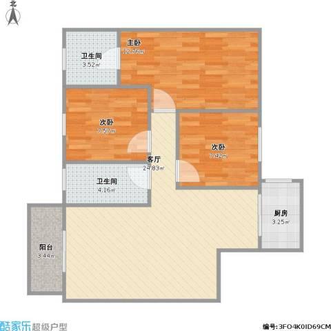 建大洋房3室1厅2卫1厨91.00㎡户型图