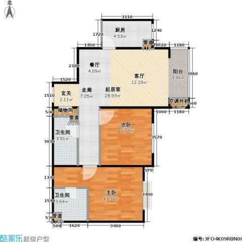 东方夏威夷2室0厅2卫1厨91.00㎡户型图