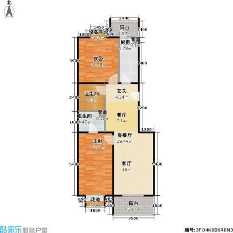 9号院花园洋房2室1厅2卫1厨106.00㎡户型图