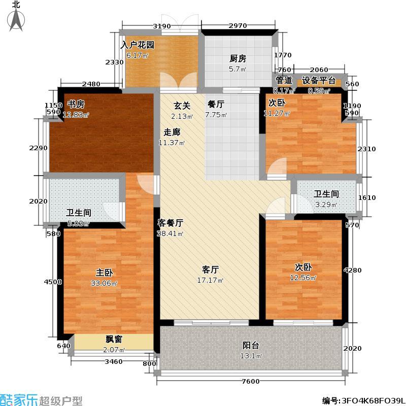 睿智华庭B栋D户型3室1厅2卫1厨