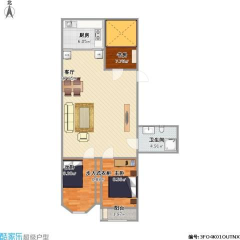怡安苑3室1厅1卫1厨101.00㎡户型图