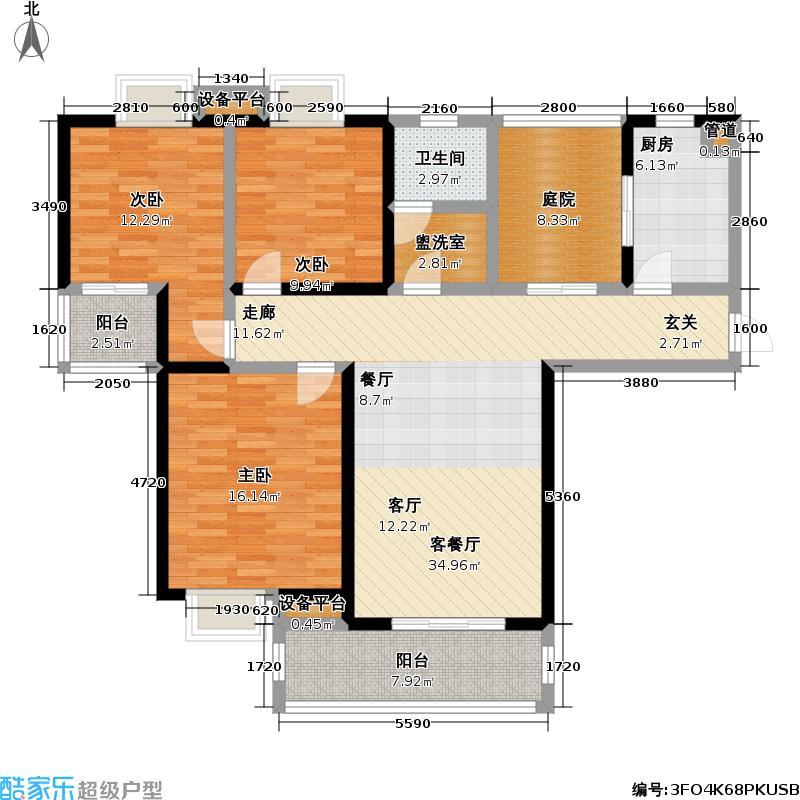 御源林城123.02㎡御源林城户型图三房两厅一卫(5/13张)户型3室2厅1卫
