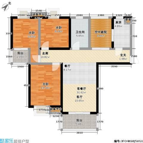 御源林城3室1厅1卫1厨123.00㎡户型图
