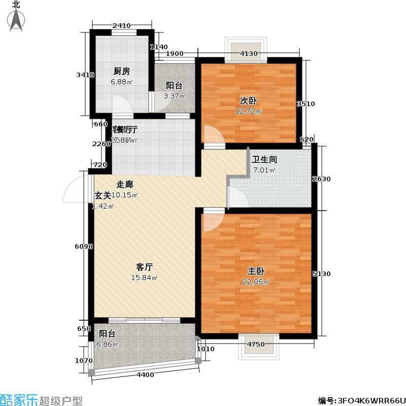 枫桦景苑二期房型户型2室1厅1卫1厨
