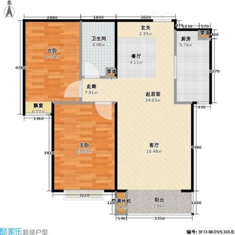 东方夏威夷2室0厅1卫1厨96.00㎡户型图