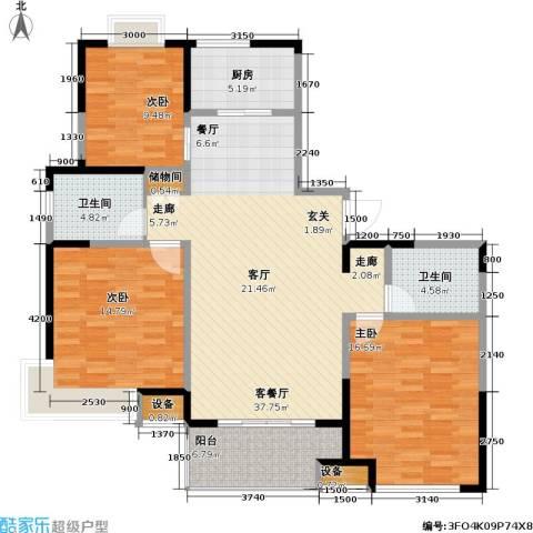 古北嘉年华庭3室1厅2卫1厨143.00㎡户型图