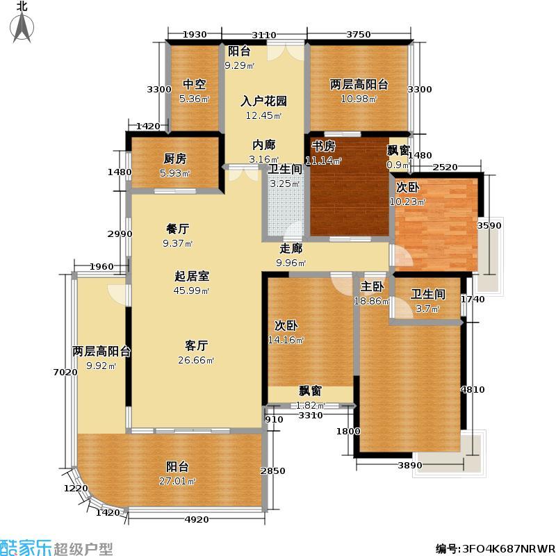 熙龙湾二期182.00㎡熙龙湾二期户型图5栋B座01房(6-26层)4房2厅2卫偶数层(4/28张)户型10室