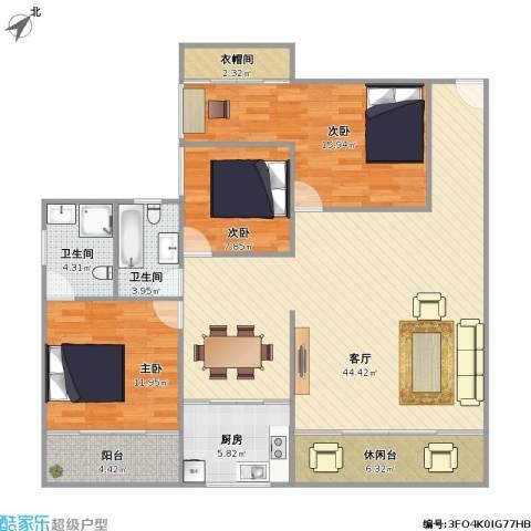 繁荣广场3室1厅2卫1厨145.00㎡户型图