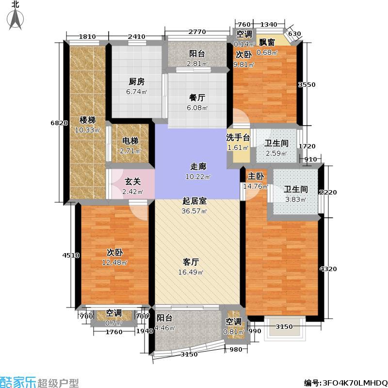 建德花园一期房型: 三房; 面积段: 121 -146 平方米; 户型