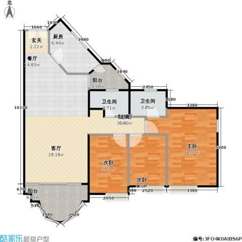 隆盛花园3室1厅2卫1厨107.00㎡户型图