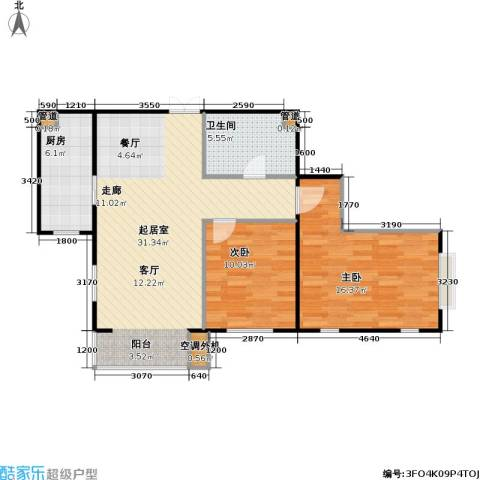 东方夏威夷2室0厅1卫1厨95.00㎡户型图