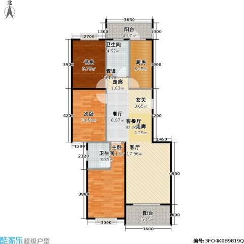 9号院花园洋房3室1厅2卫1厨115.00㎡户型图