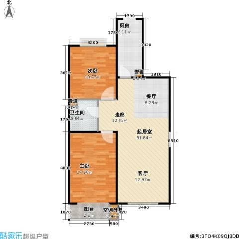 东方夏威夷2室0厅1卫1厨94.00㎡户型图