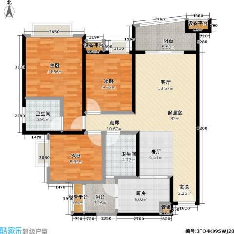 保利・康桥3室0厅2卫1厨96.00㎡户型图