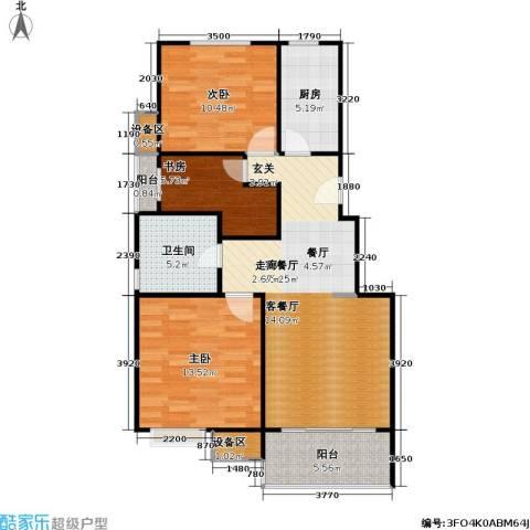 恒龙尚品嘉苑3室1厅1卫1厨80.00㎡户型图